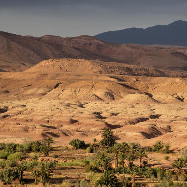 trek dans le désert du sahara au Maroc avec des bédouins dans une oasis