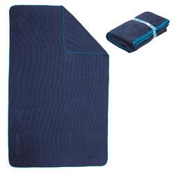 Microvezel handdoek geribbeld donkerblauw maat XL 110 x 175 cm