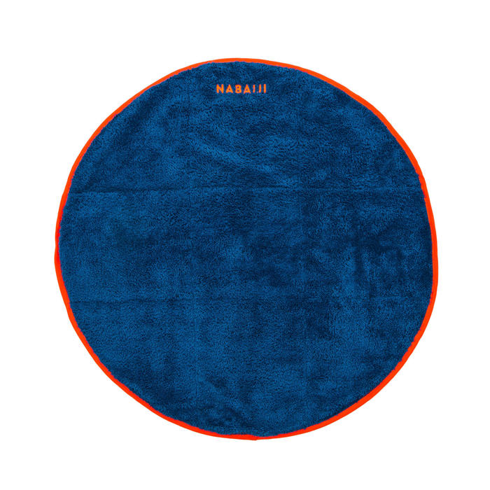 Serviette pieds bi face en microfibre douce bleue foncé diamètre 60 cm