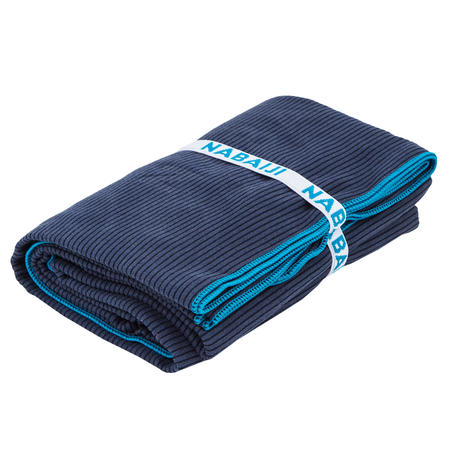 Microfibre striped towel size XL 110 x 175 cm - blue