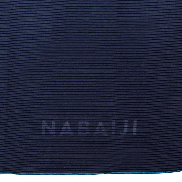 Serviette de bain microfibre à rayures bleu foncé taille XL 110 x 175 cm