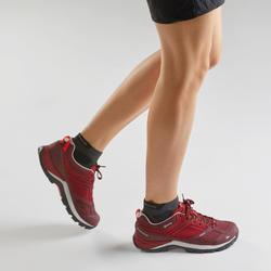 女款防水登山健行鞋MH500-酒紅色