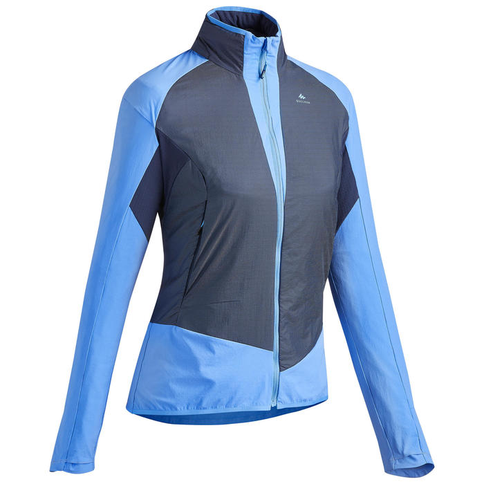 Warme jas voor fast hiking dames FH 900 Hybride blauw