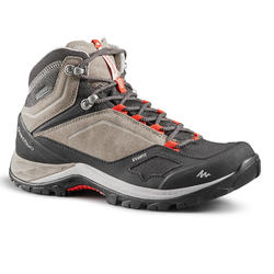 女款中筒防水登山健行鞋MH500-米色/紅色