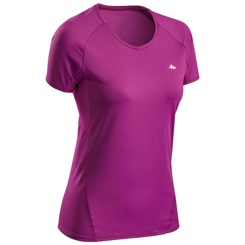 T-shirt lengan pendek hiking pegunungan wanita MH500