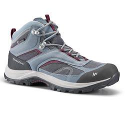 女款登山健行防水鞋MH100-藍色/紫色