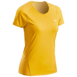 Camiseta Manga Corta de Montaña y Trekking Quechua MH500 Mujer Amarillo