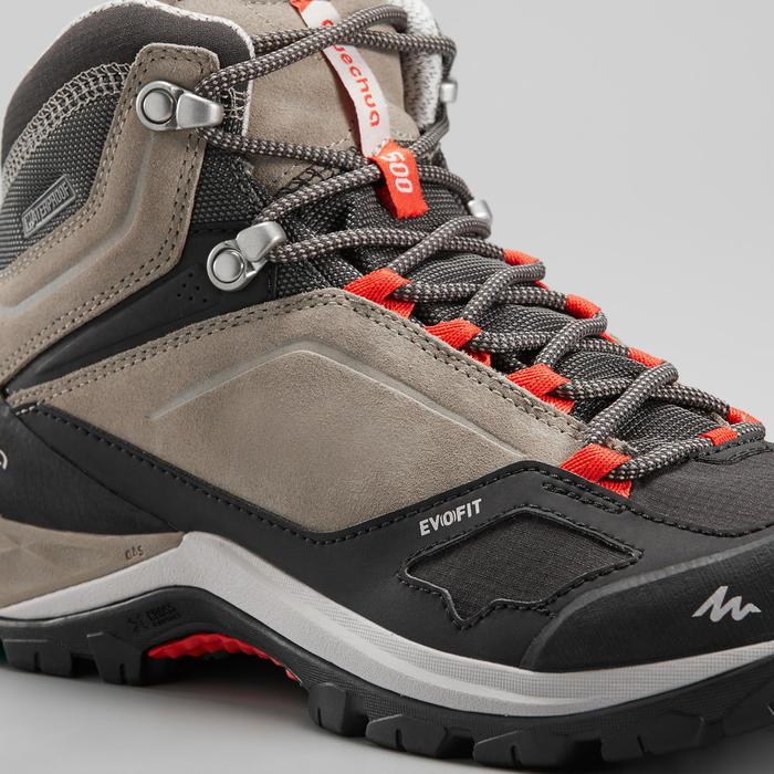 Women's Waterproof Mountain Walking Shoes - MH500 Mid - Beige/Red