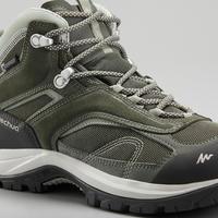 Botas impermeables de senderismo montaña - MH100 Mid Caqui - Mujer