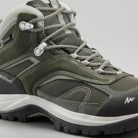 Women's mountain walking waterproof shoes MH100 Mid -Khaki