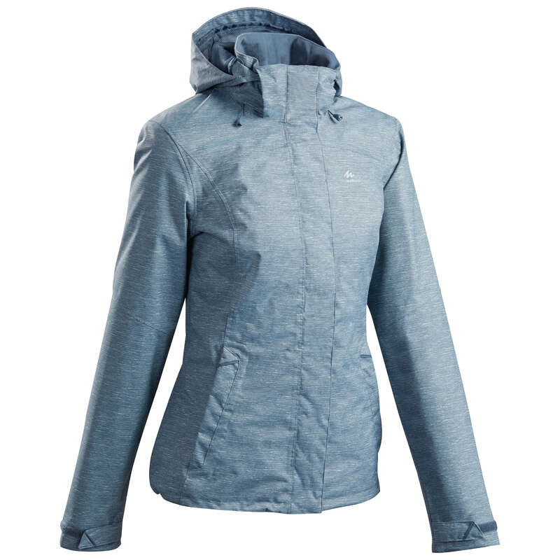 WOMEN MOUNTAIN HIKING JACKETS Hiking - W MH100 Jacket - Blue Grey QUECHUA - Hiking Jackets
