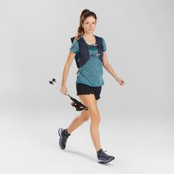 T-shirt manches courtes de randonnée rapide Femme FH500 Helium Bleu