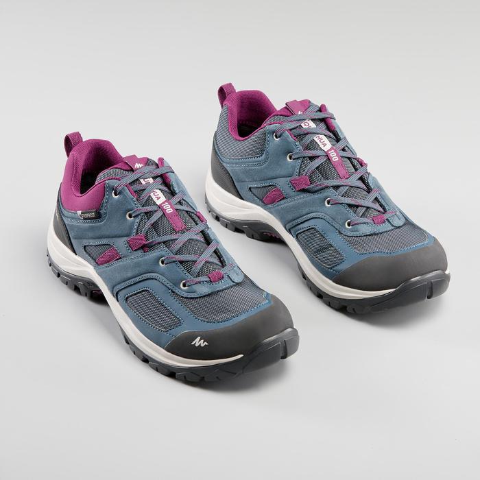 Chaussures imperméables de randonnée montagne - MH100 Bleu/Prune - Femme