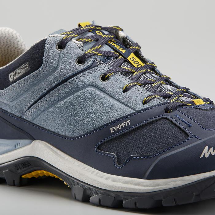 Chaussures imperméables de randonnée montagne - MH500 Bleu/Jaune - Femme