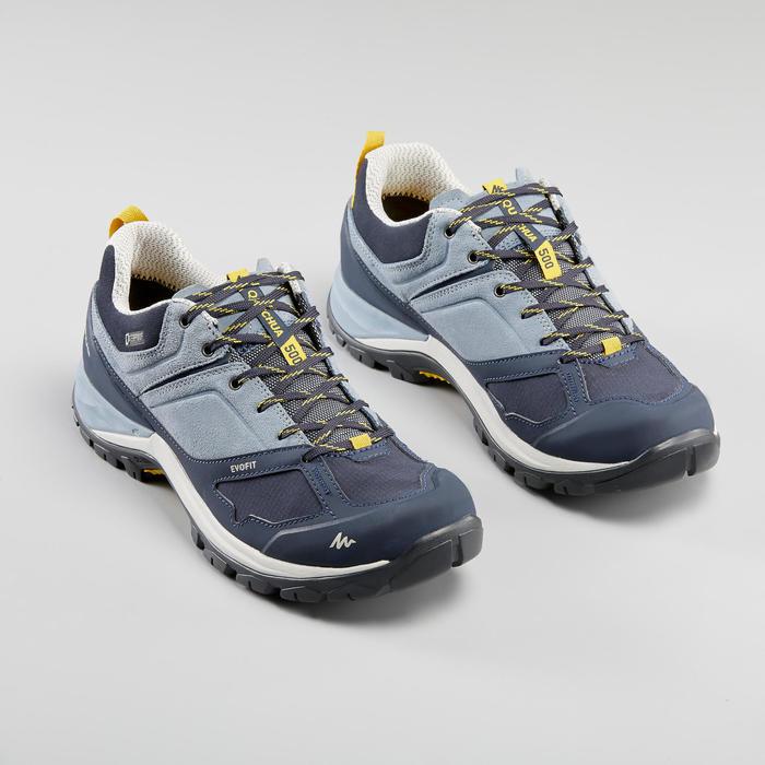 Waterdichte schoenen voor bergwandelen MH500 dames blauw/geel