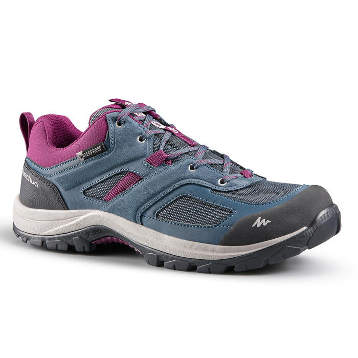 Waterdichte schoenen voor bergwandelen dames MH100 blauw/pruim