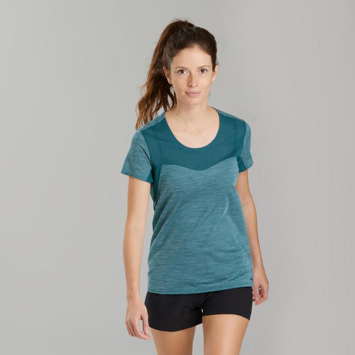 T-shirt de randonnée rapide Femme FH500 Helium Bleu