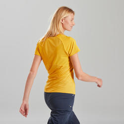 Dames T-shirt met korte mouwen voor bergwandelen MH500