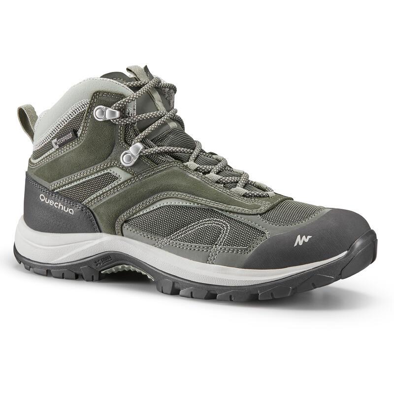 Women's waterproof mountain walking boots - MH100 Mid -Khaki