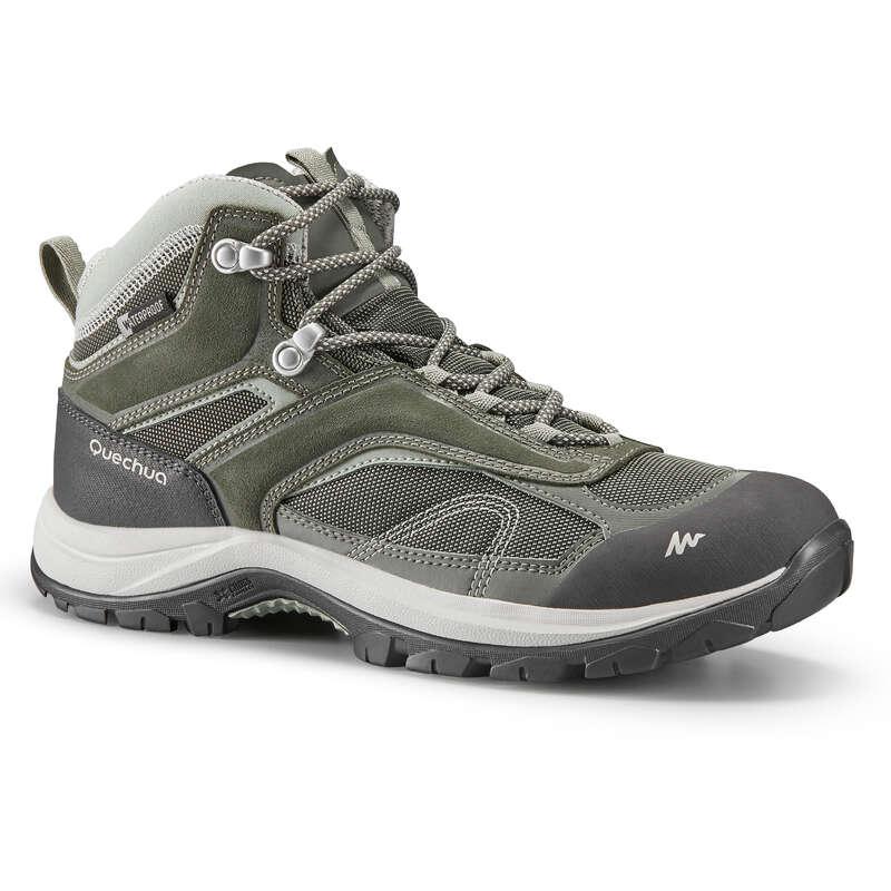 WOMEN MOUNTAIN HIKING SHOES Hiking - W MH100 MID WTP - KHAKI QUECHUA - Outdoor Shoes