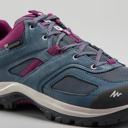 女款防水登山鞋 MH100-藍色/梅紫色