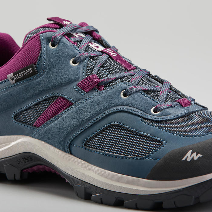 Wanderschuhe Bergwandern MH100 wasserdicht Damen blau/violett
