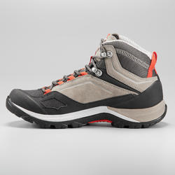 Women's Waterproof Mountain Walking Shoes - MH500 Mid - Beige/Red
