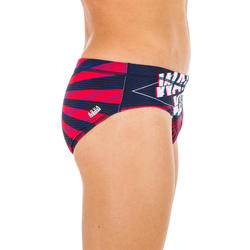 MAILLOT BAIN SLIP WATER POLO 500 HOMME JAPAN BLEU ROUGE