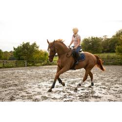 Polo manches courtes équitation femme 140 rose clair chiné