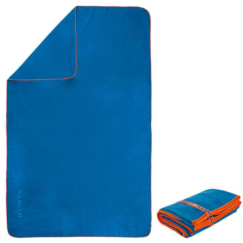 Kompaktiškas mėlynas mikropluošto rankšluostis, L dydžio, 80x130 cm