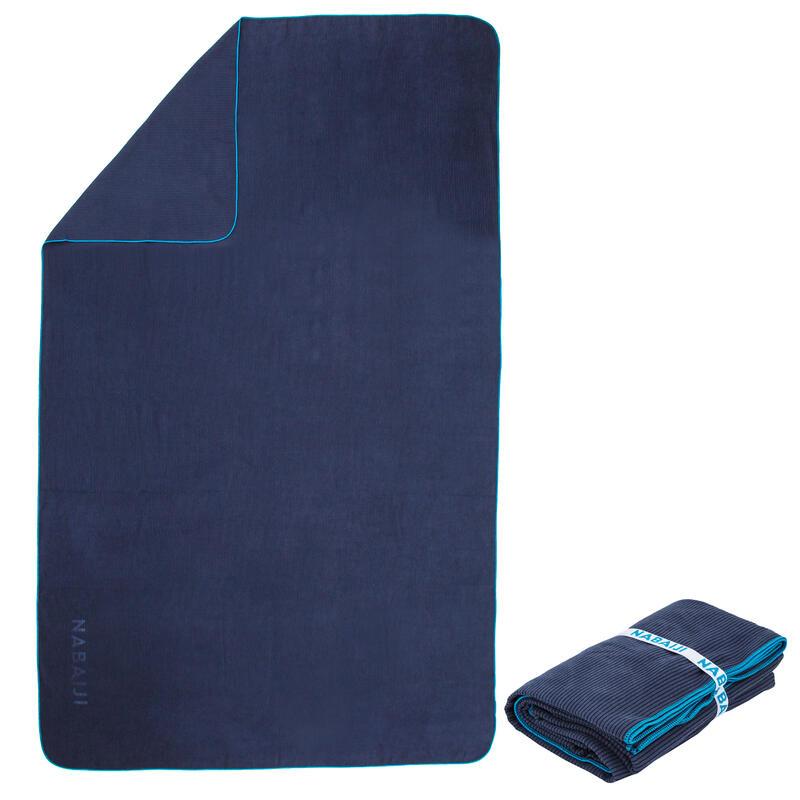 Compact Microfibre Towel XL Striped - Navy Blue