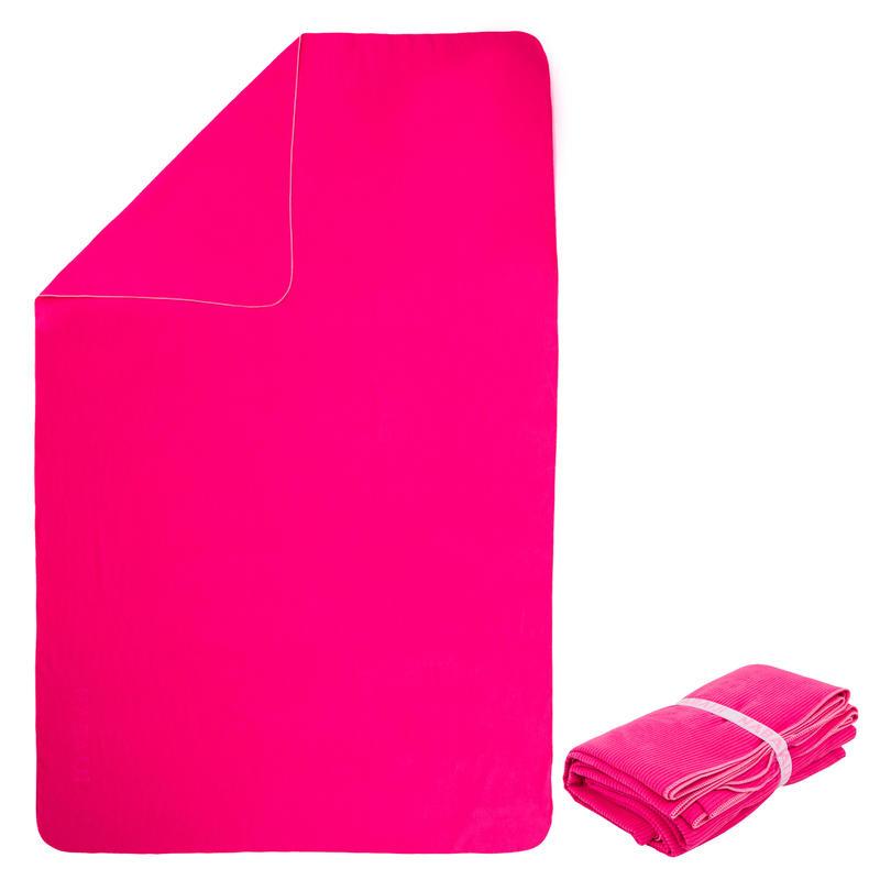Serviette microfibre à rayures taille XL 110 x 175 cm rose