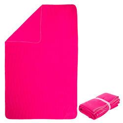 Microvezel handdoek geribbeld roze maat XL 110 x 175 cm