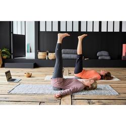 女款舒緩瑜珈棉質緊身褲 - 灰色/粉色