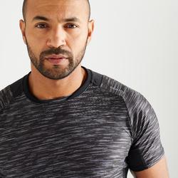 T-shirt fitness cardio training homme noir chiné 500