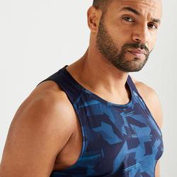 Mouwloos shirt voor cardiofitness heren FTA 500 camo blauw