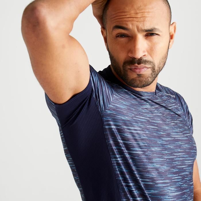 T-shirt fitness cardio training homme bleu chiné 500