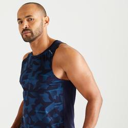Débardeur cardio fitness training FTA 500 homme bleu camo