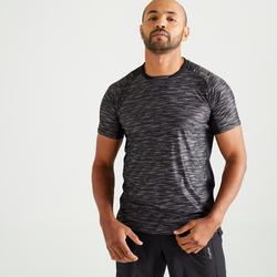 T-shirt voor cardiofitness heren FTS 500 gemêleerd zwart