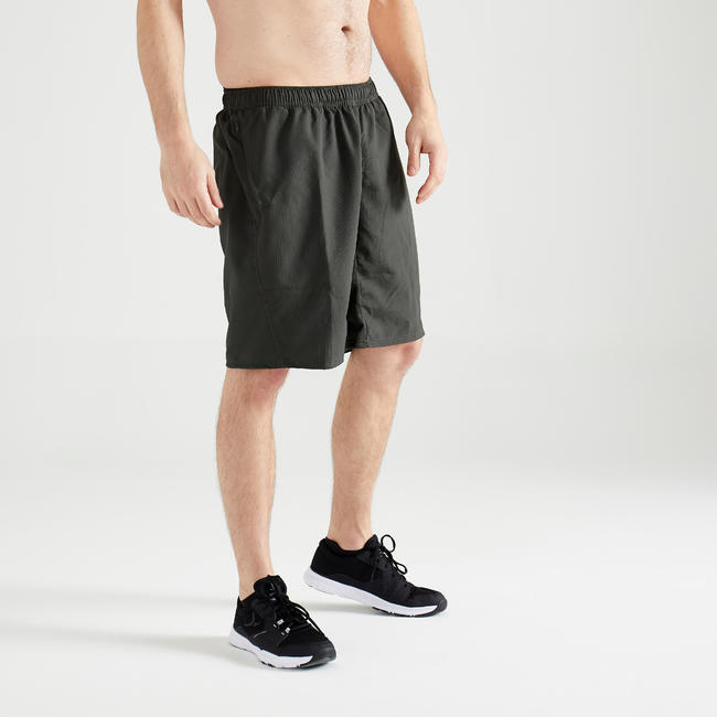 Men's Zip-Pocket Fitness Short With Mesh - Green Khaki
