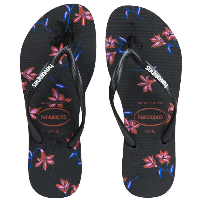 Slippers voor dames Slim Floral zwart