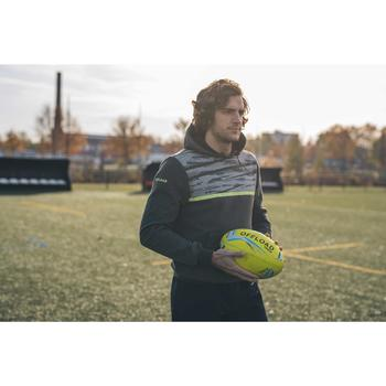 Sweat à capuche hoodie de rugby R100 homme Kaki