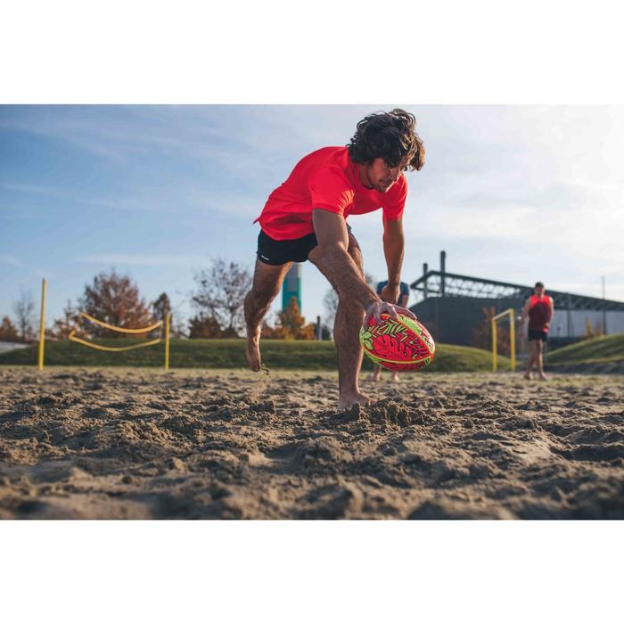 4號沙灘橄欖球R100熱帶花樣 - 紅黃配色