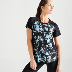 女款有氧健身訓練運動T恤500-黑色印花款