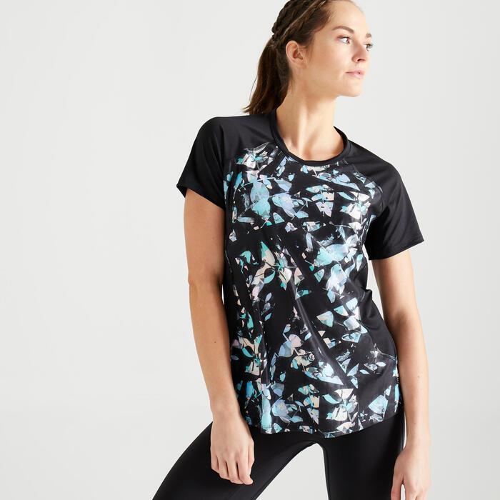 T-shirt fitness cardio training femme imprimé noir 500