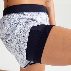 2-in-1 short voor cardiofitness dames 900 wit/blauw