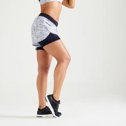 Short 2 en 1 fitness cardio training femme blanc et bleu 900
