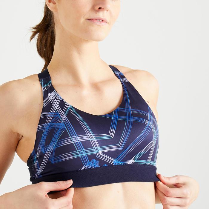 Brassière fitness cardio training femme imprimée bleu marine 500