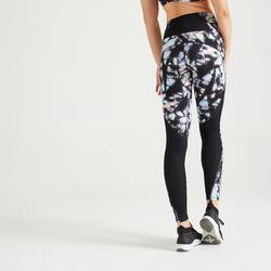 女款有氧健身訓練緊身褲500-黑色印花款