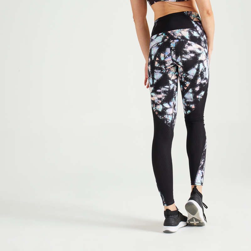 FITNESS CARDIO CONFIRMED WOMAN CLOTHING Fitness and Gym - Leggings FTI 500A Black Print DOMYOS - Gym Activewear